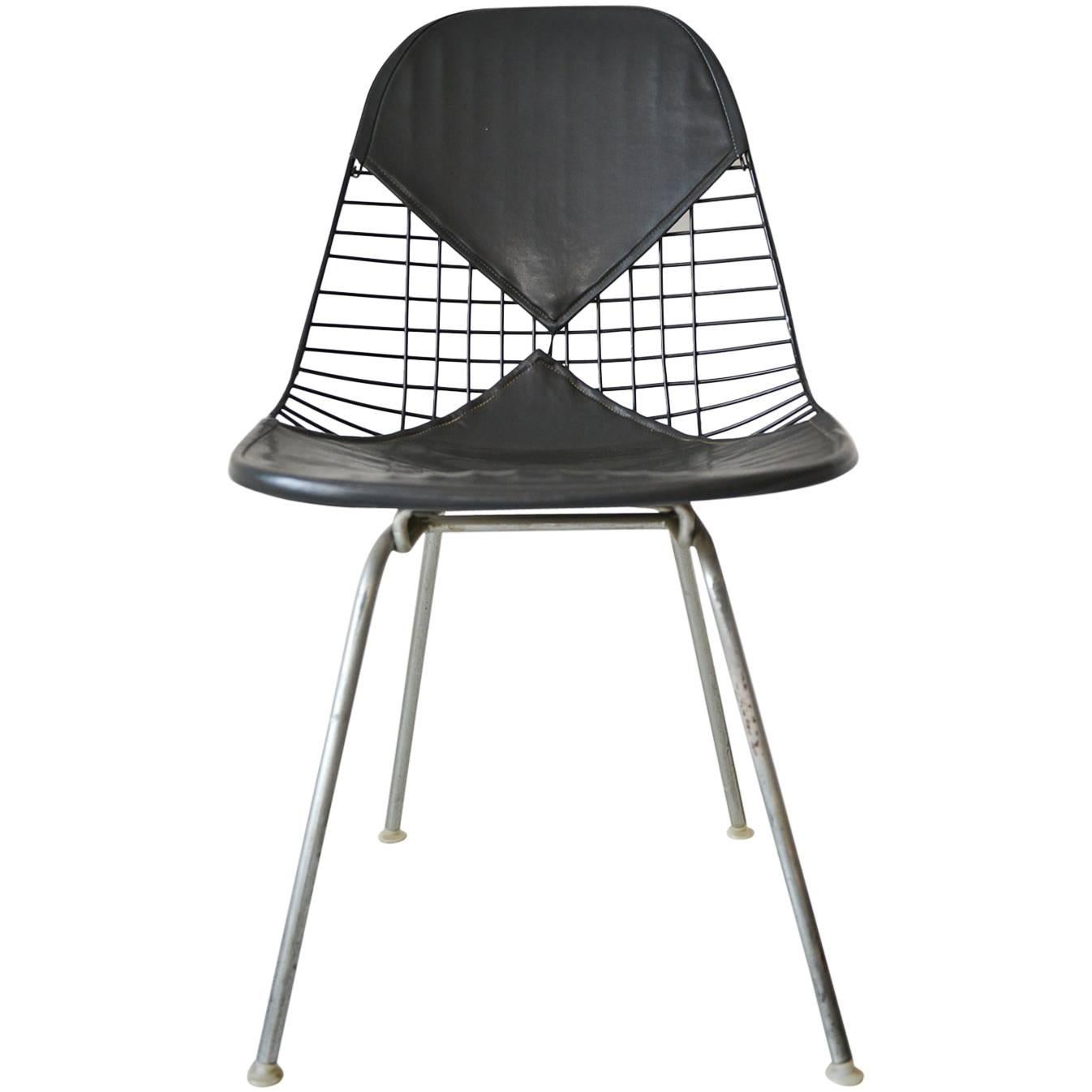 Eames DKX 2 Vintage Wire Chair With Leather Bikini Cover