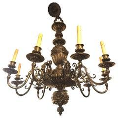 Nine-Arm Renaissance Style Cast Repousse Design Large Bronze Chandelier
