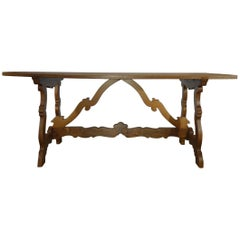 Antique Italian Rustic Tuscan Refectory Style Walnut Table Carved Stretcher 1820