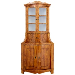 19th Century Swedish Karelian Birch Corner Cabinet