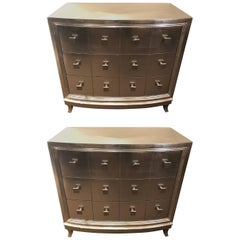 Pair of Hollywood Regency Style Demilune Chests or Nightstands or Commodes