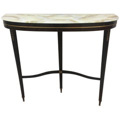 Italian Demilune Black Wooden Console Table with a Glass Top