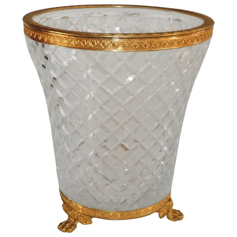 Wonderful French Baccarat Doré Bronze Ormolu Diamond Cut Crystal Ice Bucket Vase