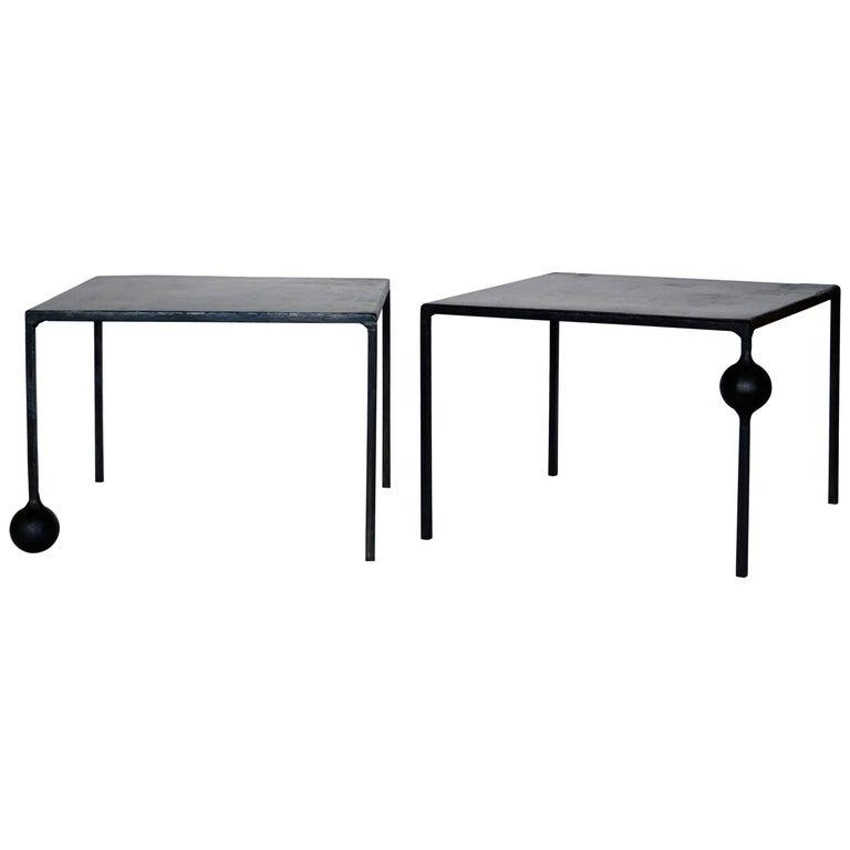 Modern Geometric Hand Made End Table in Blackened Steel by J.M. Szymanski, NYC