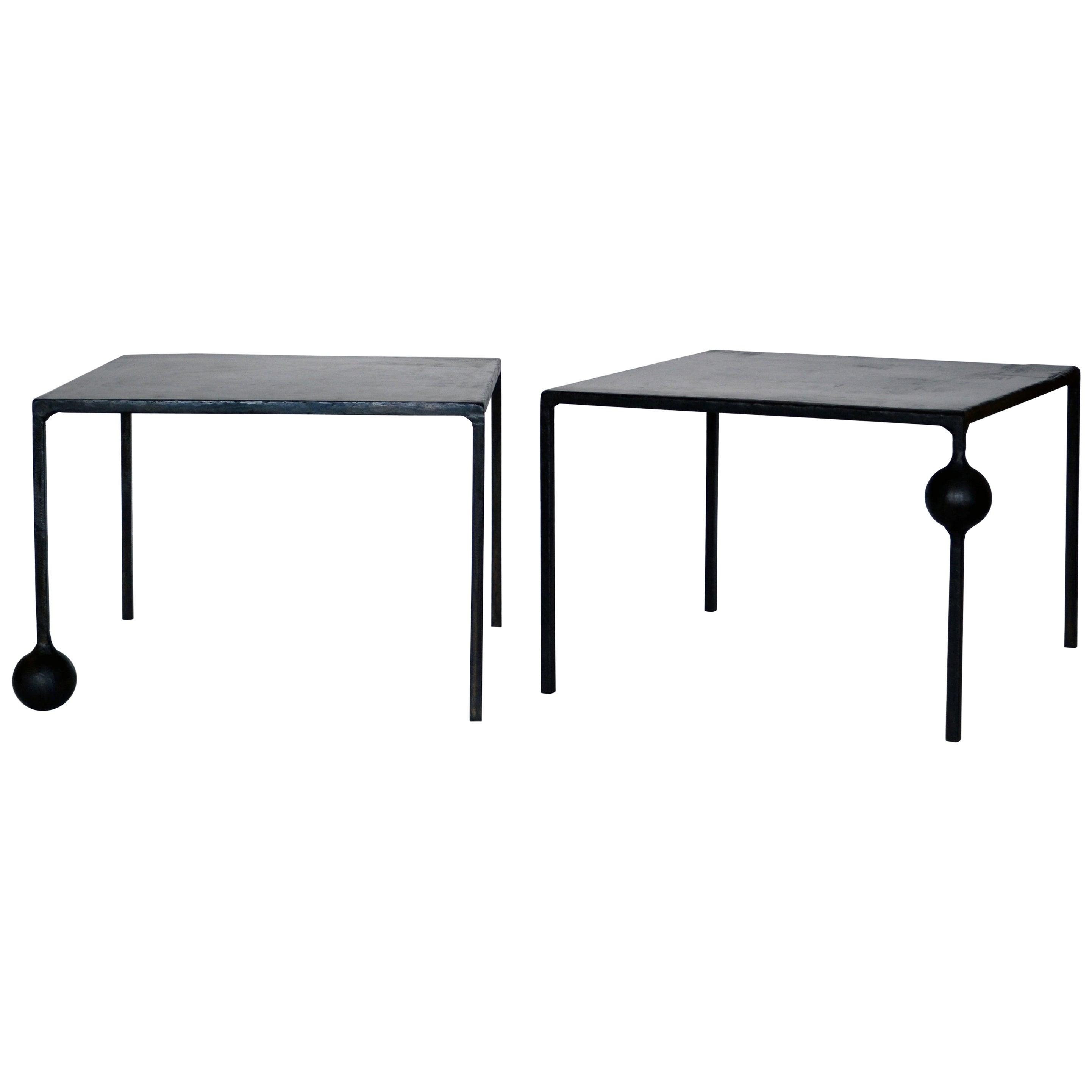 Pair of End/Side Tables Modern Geometric Handmade Carved Blackened Steel