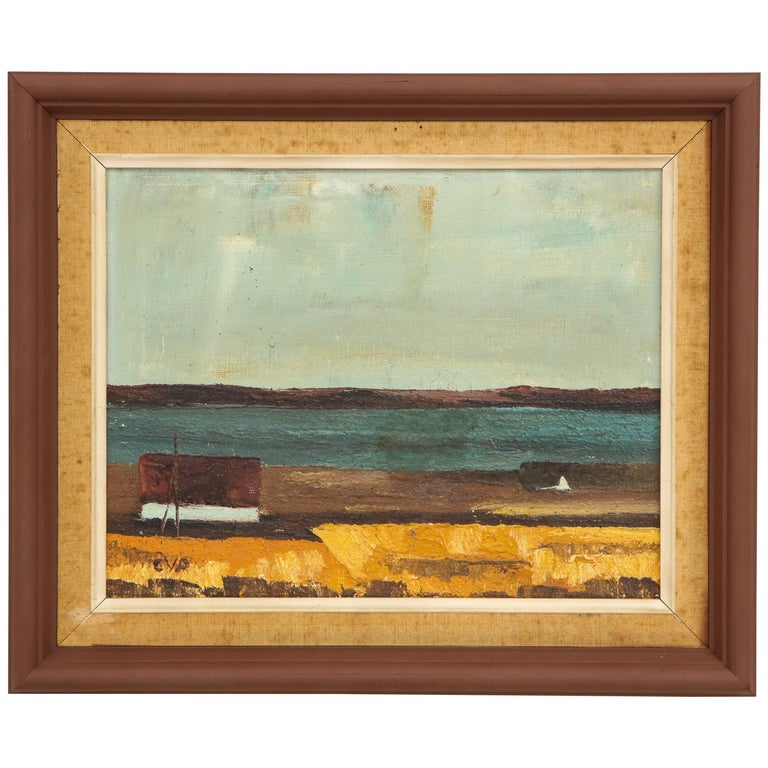 Wood Framed Vintage Landscape with Seaside Scene with House For Sale