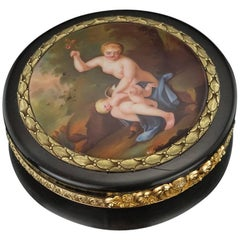 Antique French 18-Karat Gold-Mounted, Miniature Enamel Snuff Box, circa 1800
