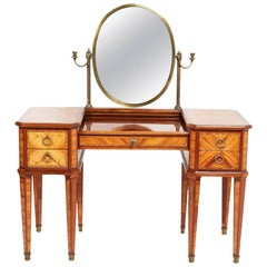 Antique French Mid-20th Century Highly Inlaid Mahogany and Kingwood Vanity