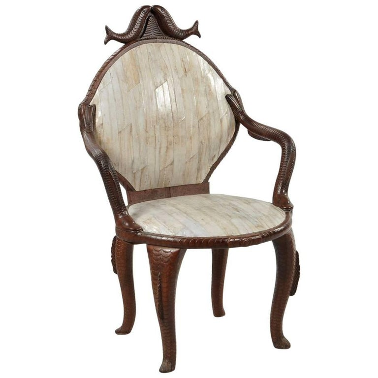 19th Century Fish Carved Armchair  For Sale