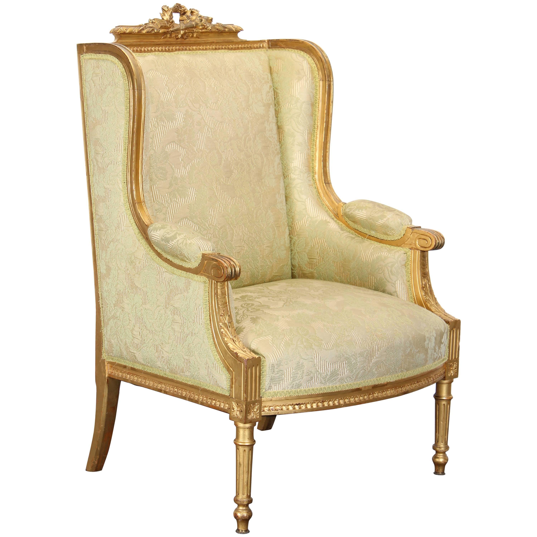 19th Century Louis XVI Bergere Armchair