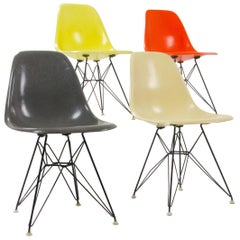 Set of Charles and Ray Eames DSR Fiberglass Chairs
