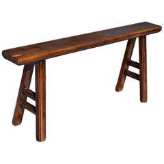 Antique Solid Wood Chinese Bench, Kung Fu Bench