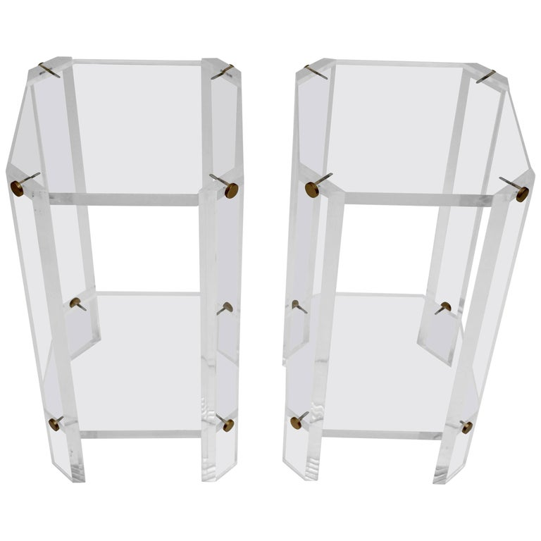 Brass and Lucite Side Tables or Pedestals