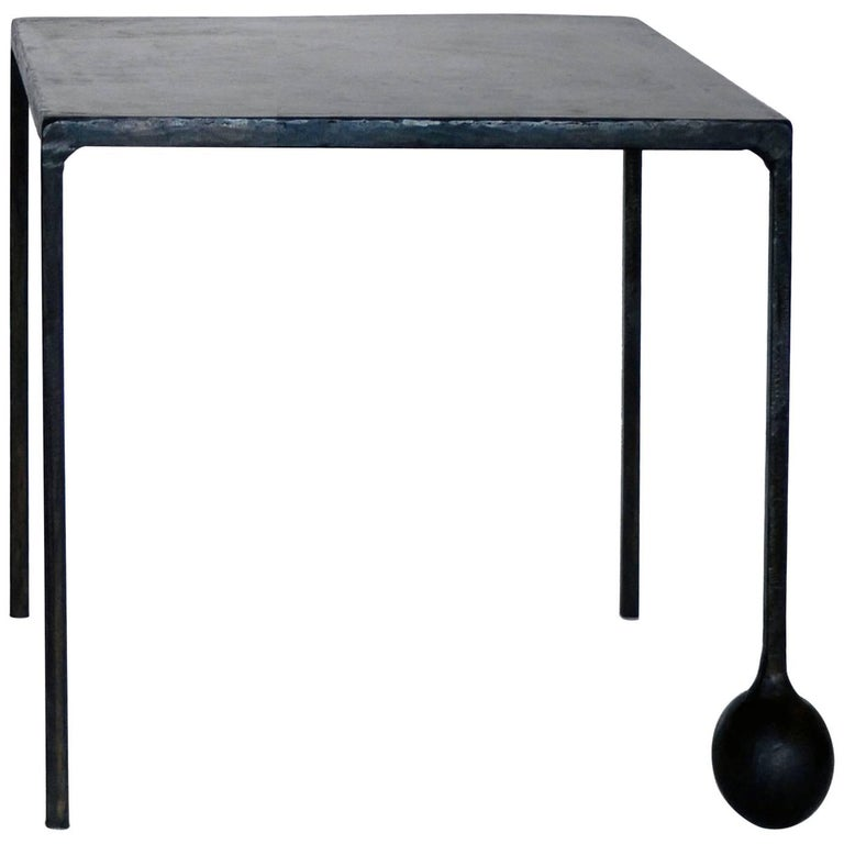 Hand-Sculpted Iron End Table in Blackened and Waxed Finish by J.M. Szymanski NYC