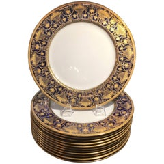 Set of 12 Luxurious Raised Gilt and Cobalt Service Plates, circa 1910