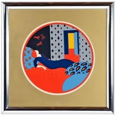 Greg Copeland Signed and Numbered Serigraph in Bullnose Chrome Frame, 1973