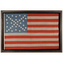 38 Stars in a Starburst Cross on an Antique American Flag, Colorado Statehood