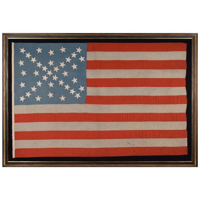 38 Stars in a Starburst Cross on an Antique American Flag, Colorado Statehood 1