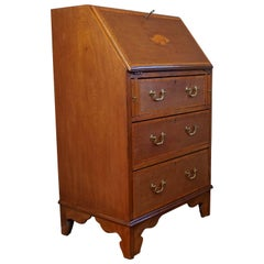 Antique Mahogany Secretaire Ladies Desk by Pioneer of Liverpool w. Inlaid Shell