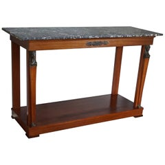 Large Empire Style Mahogany Side Table with Bronze Goddesses & Black Marble Top