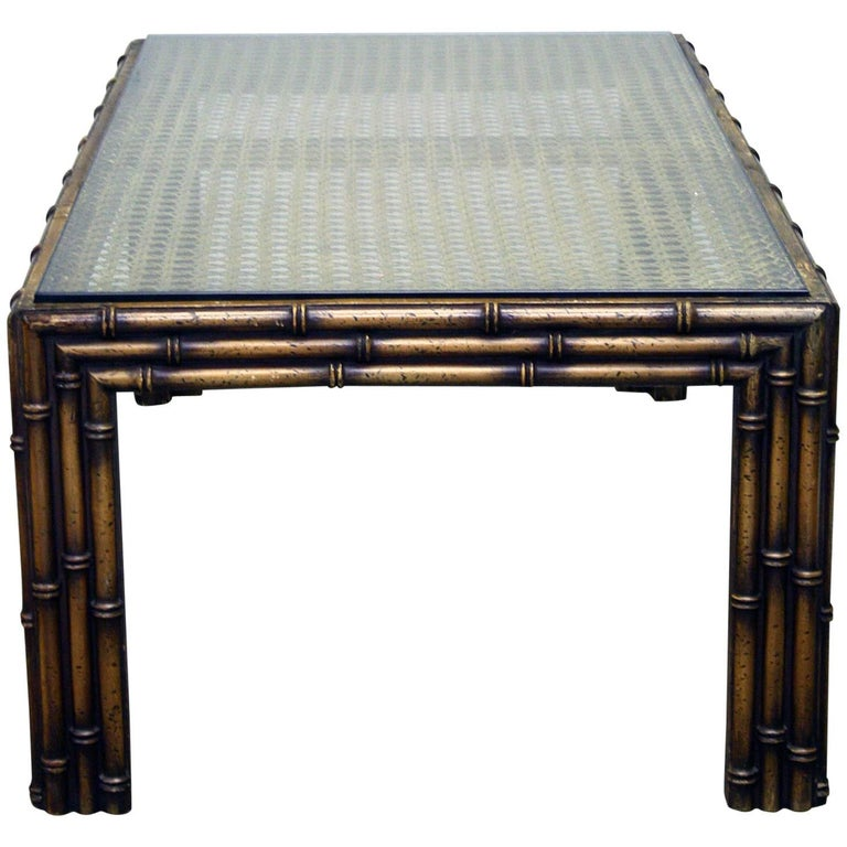 20th Century Faux Bamboo and Rattan Coffee Table