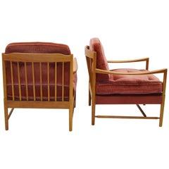 Pair of Scandinavian Easy Chairs in Walnut