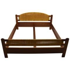 Danish Teak and Rattan Double Bedframe from circa 1960s