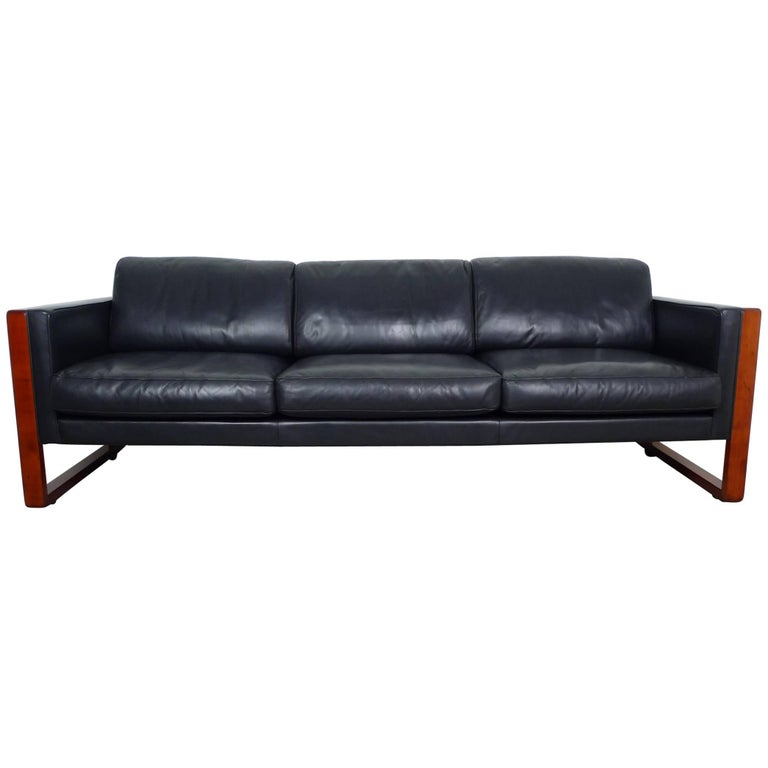 three seat leather sofa from walter knoll germany 1960s at 1stdibs. Black Bedroom Furniture Sets. Home Design Ideas