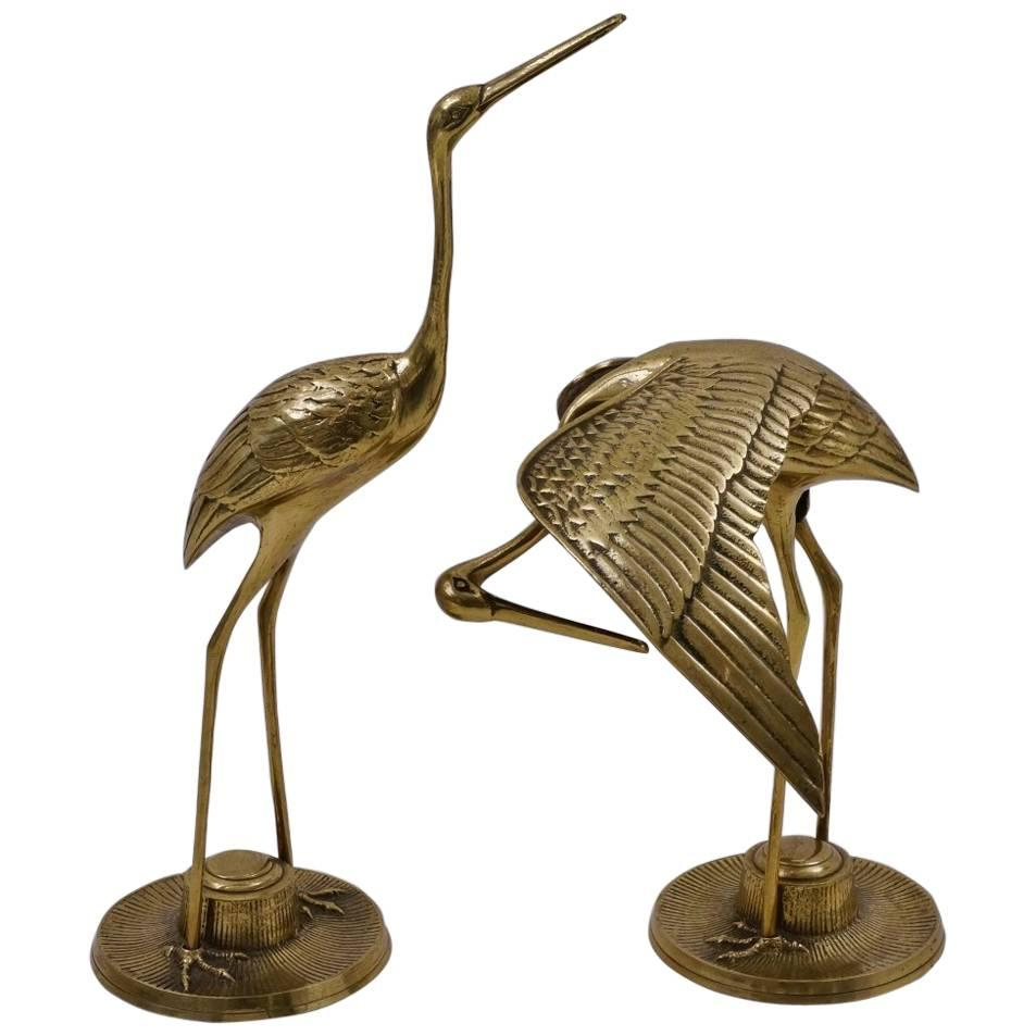 Pair Of Brass Bird Sculptures, Herons, Circa 1960s, French For Sale