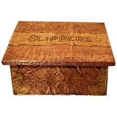 Arts & Crafts Hand Beaten Copper and Brass Fireside Slipper Box