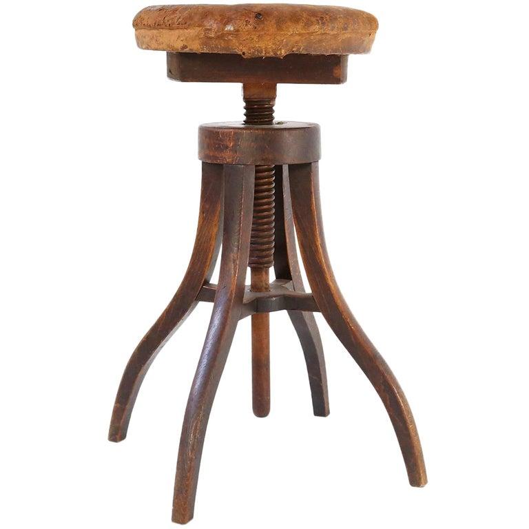 1900s Danish Artist's Adjustable Industrial Wood/Leather Stool