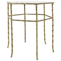 French Faux Bamboo Brass Hexagonal Table from Maison Bagues, 1950s