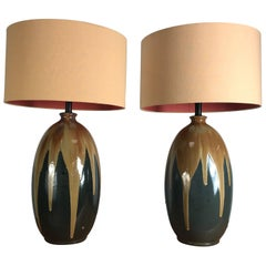 Pair of Large Drip Glaze Pottery Lamps
