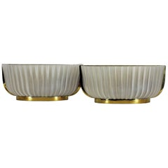 1930s Pair of Art Deco Wall Lights, polished brass and pressed glass. Italy
