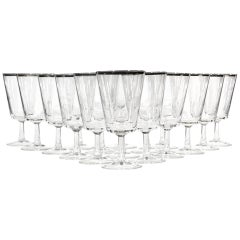 Mid-20th Century Modern French Silver Rimmed Glass Wine Stems, 17 Pieces