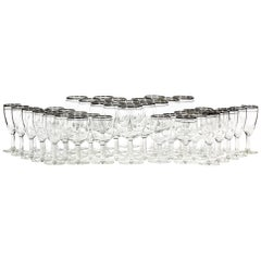 Mid-20th Century Modern Double Silver Ring Glass Stems, 45 Pieces