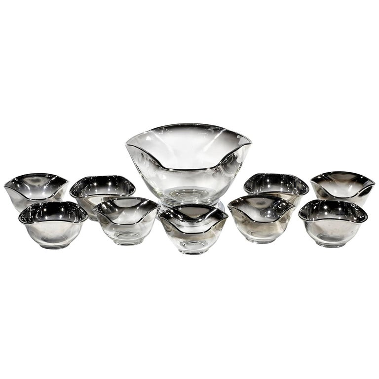 Mid-20th Century Modern Silver Fade Serving Bowl Set, Ten Pieces
