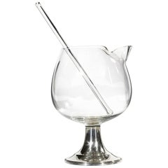 1950s Glass Bar Mixer with Sterling Silver Base