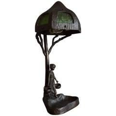 Antique Bronze & Glass Jugendstil Table & Desk Lamp W. Lady under Tree Sculpture