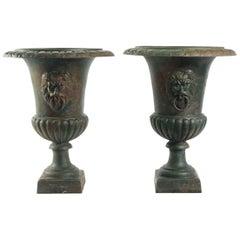 Large Pair of Cast-Iron Medicis Vases, Mid-20th Century, circa 1950-1960