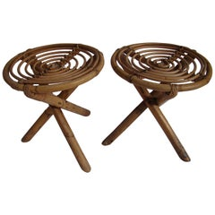 1960s Pair of French Rattan Stools