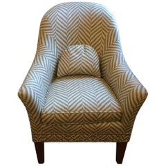 Stunning Grey and White Chevron Upholstered Club Chair