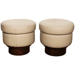 Pair of Round Poufs from the 1940s