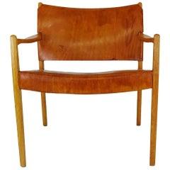 1950s Midcentury Per-Olof Scotte Premiär Leather Easy Chair