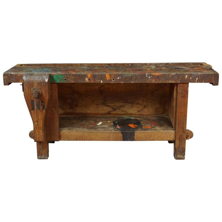 Primitive Work Bench from France, circa 1940 For Sale