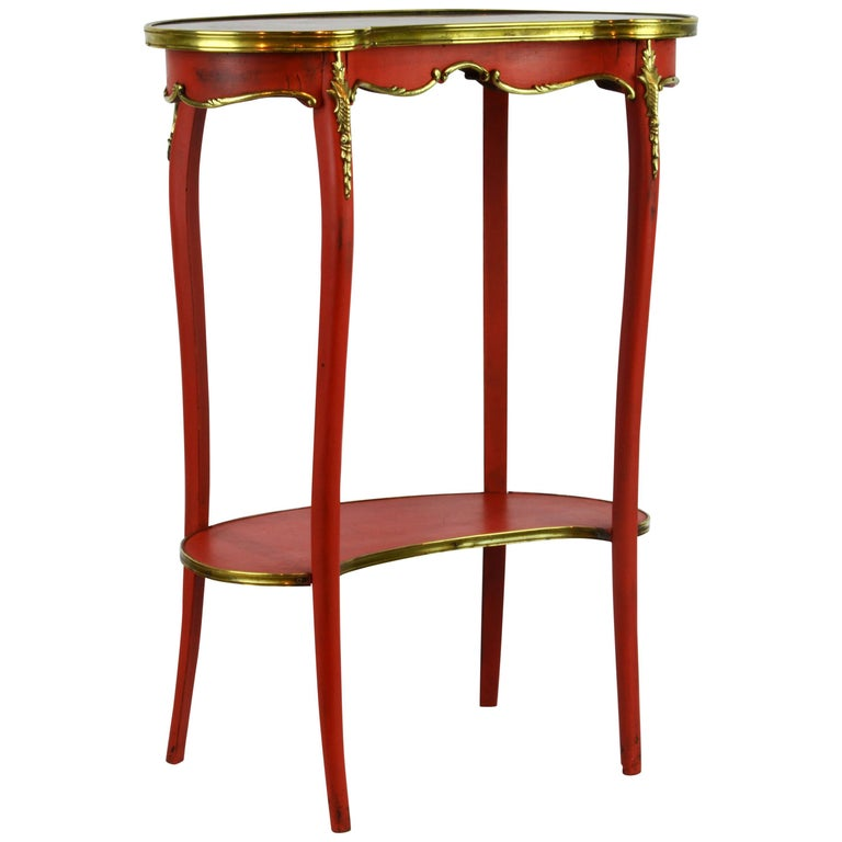 Charming French Provincial Painted and Bronze-Mounted Kidney Shape Accent Table 1