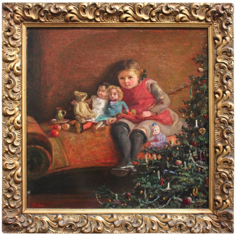 Art Deco Era Painting Dolls are Sitting under the Christmas Tree 1925 Vienna For Sale