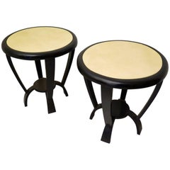 Pair of 1940s Round Parchment Black and Withe Italian Side Table Art Deco
