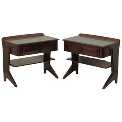 Dassi Midcentury Mahogany and Glass Top Italian Night Stands, 1950