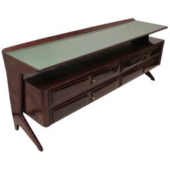 Dassi Midcentury Mahogany and Glass Top Italian Chests of Drawers, 1950